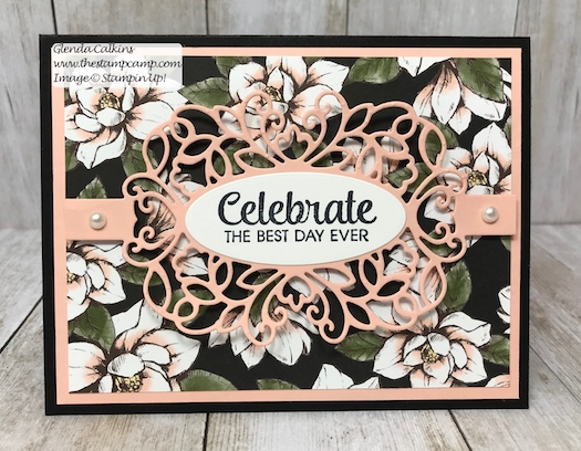 This is the Magnolia Lane Designer Series Paper and the Detailed Bands Dies from Stampin' Up! Details on my blog here: https://wp.me/p59VWq-aa2 . #stampinup #dies #magnolia #thestampcamp #cards