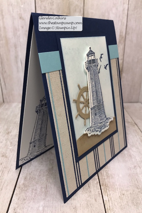 This is the Sailing Home stamp set with the Come Sail Away DSP from Stampin' Up! Details on my blog here: https://wp.me/p59VWq-abV #stampinup #thestampcamp #masculine #sailinghome