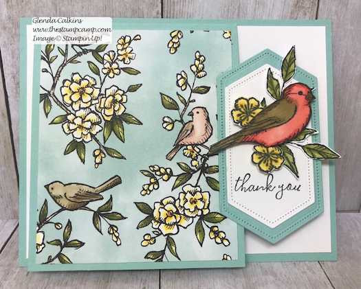 This is my featured stamp set for July. It is the Free As A Bird Bundle from Stampin' Up! This fun fold is a flip up fun fold. Details can be found here: https://wp.me/p59VWq-ahF #thestampcamp #stampinup #freeasabird #birdballad
