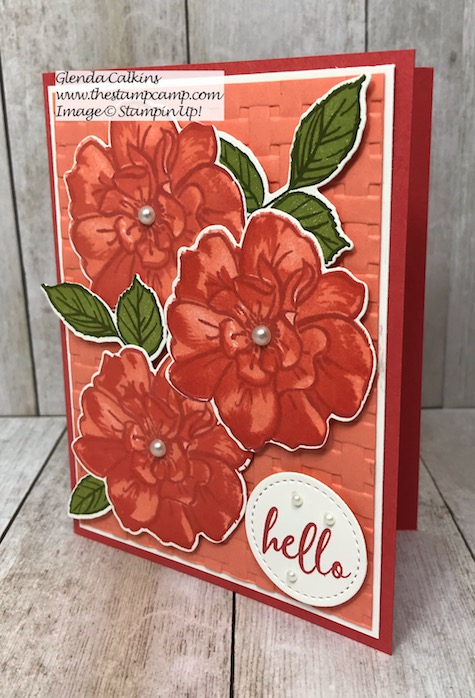 """My featured stamp set for August is the """"To A Wild Rose Bundle"""" from Stampin' Up! This is one of the cards I created using the Stamparatus from Stampin' Up! The video is on my blog here: https://thestampcamp.com/stamparatus-tips-for-the-to-a-wild-rose-bundle/ #stampinup #wildrose #stamparatus #thestampcamp"""
