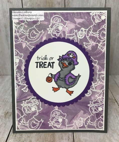 This fun Pirate Duck is part of the Birds of a Feather stamp set from Stampin' Up! This set will take you from Halloween through Valentines Day with it's cute Bird Critters. Details on my blog Here: https://wp.me/p59VWq-apS #stampinup #birdsofafeather #thestampcamp #Halloween