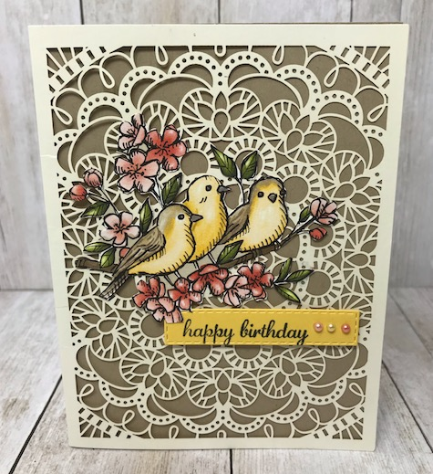 Free as a Bird Birthday card uses the Bird Ballad designer series paper form Stampin' Up! Details on my blog here: https://wp.me/p59VWq-aqv #stampinup #birdballad #thestampcamp #paper