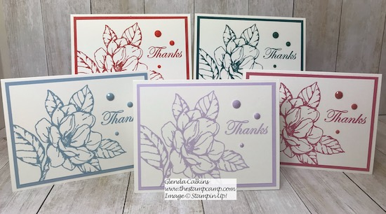 Good Morning Magnolia stamp set in all 5 New In Colors for 2019-2021. Details on my blog here: https://wp.me/p59VWq-anh #stampinup #magnolia #incolors #thestampcamp