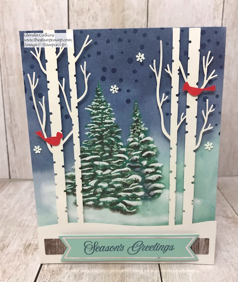 This is the Paper Pumpkin Kit for October 2019; it features the Winter Woods card kit. Details to become a Paper Pumpkin Subscriber are on my blog here: https://wp.me/p59VWq-auP #stampinup #paperpumpkin #thestampcamp #kits