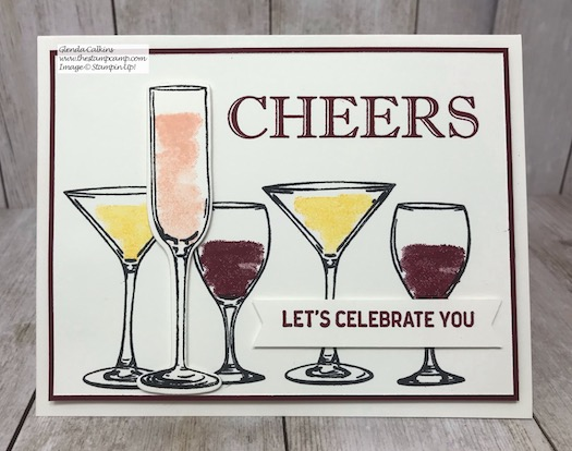 Cheers to That! Let's Celebrate You! This is a birthday card for my son-in-law who has a birthday on January 1st. Details on my blog here: https://wp.me/p59VWq-aFp #stampinup #cheers #thestampcamp #sipsiphooray