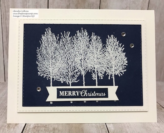 The Winter Woods stamp set is perfect for Christmas Cards as well as winter birthdays or weddings. Details on my blog here: https://wp.me/p59VWq-aDm #stampinup #thestampcamp #winter #chirstmas