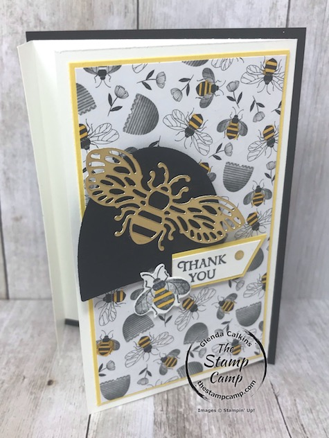This is the Honey Bee Bundle and the Golden Honey Specialty Designer Series paper from Stampin' UP! Details on my blog here: https://wp.me/p59VWq-aK0 #stampinup #thestampcamp #saleabration #honeybee