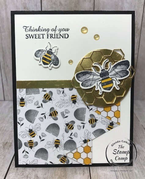 This is the Honey Bee Bundle and the Golden Honey Specialty Designer Series paper from Stampin' UP! Details on my blog here: https://wp.me/p59VWq-aJM #stampinup #thestampcamp #saleabration #honeybee