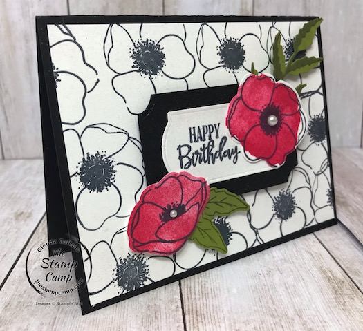 Create your own background papers using the Painted Poppies stamp set. Details can be found on my blog here: https://wp.me/p59VWq-aOv #stampinup #thestampcamp #paintedpoppies #peacefulpoppies