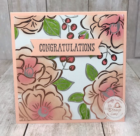 This is part of the 2nd Release for Sale-a-bration Freebies for 2020. Love this foiled paper. Details on my blog here: https://wp.me/p59VWq-aSf . #stampinup #saleabration #thestampcamp #floweringfoils