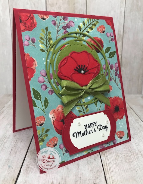 Peaceful Moments Bundle Mother's Day Card; part of a mystery card challenge I was in. Details can be found on my blog here: https://wp.me/p59VWq-aVV #stampinup #mysterycard #thestampcamp #Poppymomentsdies