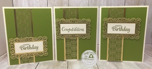 Same Layout done 3 different ways with the Ornate Garden Specialty Designer Series Paper. Details are on my blog here: https://wp.me/p59VWq-aUw #stampinup #ornategarden #layouts #thestampcamp
