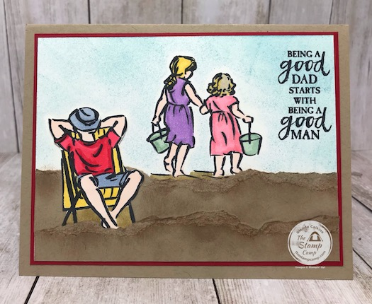 A good man stamp set pairs really well with the Beautiful Moments stamp set from Stampin' Up! I'm not that great at creating scenic cards but I think this one turned out okay seeings how I haven't done a lot of these before. A little paper tearing, sponging and some blends and it came together okay. Details are on my blog here: https://wp.me/p59VWq-bik #stampinup #thestampcamp #glendasblog #fathersday