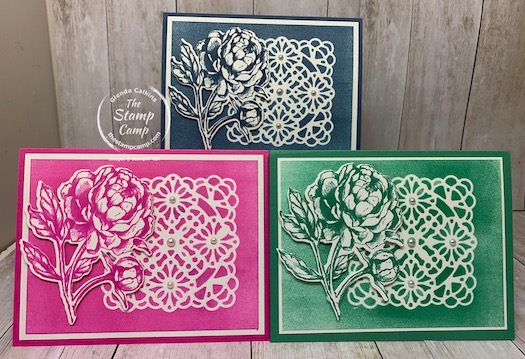 """Have you tried using the Vellum Square Doilies as a stencil? If not you will want to give it a try; the results are spectacular. This was done live on Tuesday night on my Facebook page and YouTube Channel """"The Stamp Camp""""; if you missed it see my blog here for the video: https://wp.me/p59VWq-bn9. #stampinup #thestampcamp #glendasblog #stencil #vellum"""