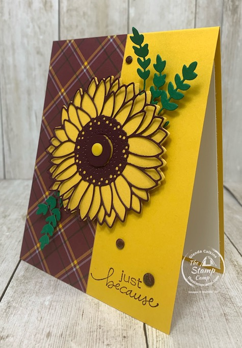 Color Challenge! Do you enjoy a Color Challenge? This week I posted a color challenge on my team facebook page Creating with Team Stamp Camp and the color challenge was to use Blackberry Bliss, Crushed Curry and Shaded Spruce with a neutral. I had a strip of left over Designer Paper and since the Celebrate Sunflower bundle is my featured stamp set this month I went with it. Details are on my blog here: https://wp.me/p59VWq-boq. #stampinup #thestampcamp #celebratesunflowers