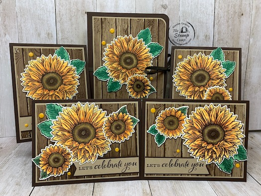 The Celebrate Sunflowers is my featured stamp set of the month for August 2020. This month's featured PDF file is just the ticket for a great gift idea for those who have everything or love crafty gifts. This is a portfolio with 4 coordinating cards and envelopes all done in the Celebrate Sunflower bundle. So beautiful in person. Details on how you can get the PDF file are on my blog here: https://wp.me/p59VWq-bns. #stampinup #celebratesunflowers #thestampcamp #glendasblog