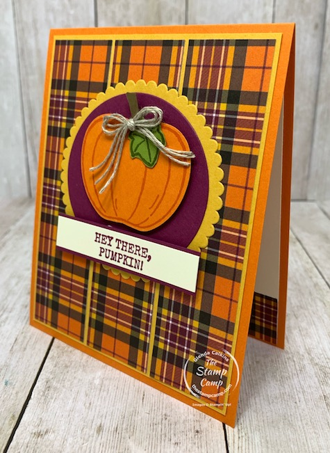 Sorry to say it is getting that time of the year when we start thinking about back to school, apples and pumpkins. When I saw the sketch challenge on the Creating with Team Stamp Camp Facebook page I knew right away I was going to use the Harvest Hellos stamp set and punch. Details are on my blog here: https://wp.me/p59VWq-bq9. #stampinup #harvesthellos #thestampcamp #fall