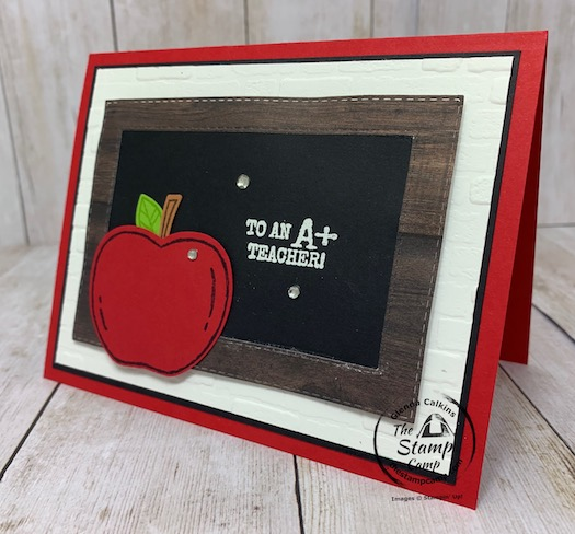 To An A+ Teacher! Welcome Back! Who wouldn't love to receive this card welcoming them back to the class room whether it is a virtual classroom or in person; it is a beautiful card to let those teachers know we love them and are always thinking of them! Details are on my blog here: https://wp.me/p59VWq-bqQ. #thestampcamp.com #stampinup #teachers #harvesthellos