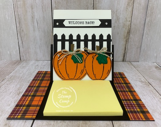 Harvest Hellos combined with the Autumn Wheelbarrow Dies create the perfect Fall cards for gift giving or just because. The fence die from the Autumn Wheelbarrow Dies is perfect for scrapbooking your fall pages as well. There is so much you can do with these dies. Details are on my blog here: https://wp.me/p59VWq-br5. #stampinup #dies #thestampcamp #fall