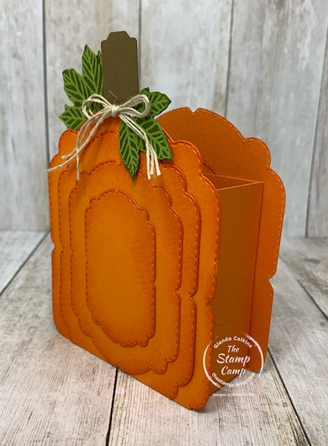 Today's Make It Monday project is a Pumpkin Treat Holder created using various dies and punches. This adorable pumpkin comes together in no time and can be filled with treats or empty and used as a decoration the choice is yours. Details are on my blog here: https://wp.me/p59VWq-bt2. #stampinup #pumpkin #punches #dies #thestampcamp