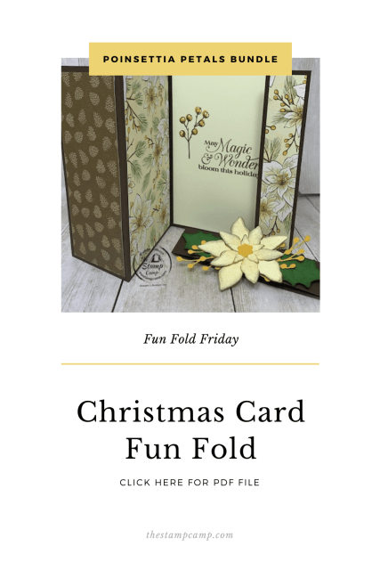 It's Fun Fold Friday and today I have a fun fold card for you using the Poinsettia Place Designer Series Paper. This fun fold is a great way to showcase both sides of the Designer Series Paper. #stampinup #thestampcamp #funfold #poinsettia