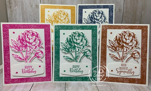 Have you seen the New 2020/2022 In Colors from Stampin' Up! yet? If not check these out! These cards are for my In Color Club Members and it features the Prized Peony Bundle. I love Monochromatic cards and this is a great way to showcase all the In Colors. Details are on my blog here: https://wp.me/p59VWq-bvY. #stampinup #thestampcamp #incolors #prizedpeony