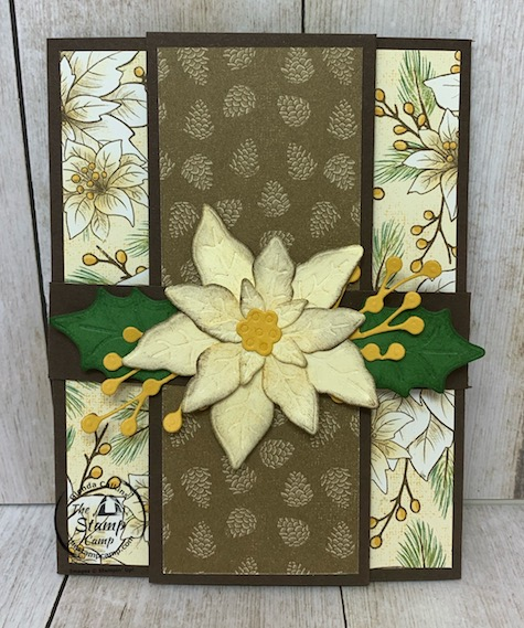 It's Fun Fold Friday and today I have a fun fold card for you using the Poinsettia Place Designer Series Paper. This fun fold is a great way to showcase both sides of the Designer Series Paper. Details can be found on my blog here: https://wp.me/p59VWq-by0 #stampinup #thestampcamp #funfold #poinsettia