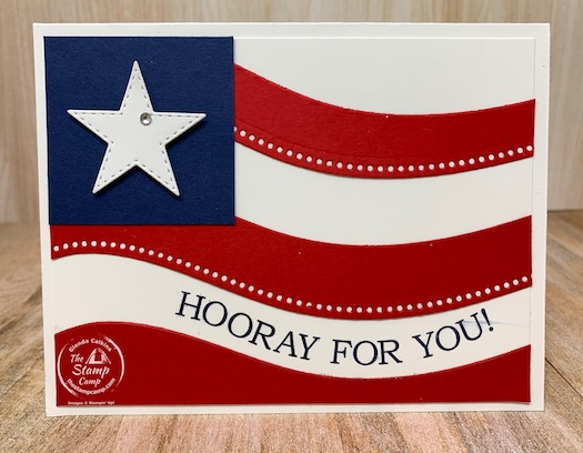 The Quite Curvy Bundle is the perfect stamp set/bundle to create ALL your patriot cards. What's also nice is this is a twofer technique. What do I mean? You will create both of these cards out of 1 piece of Real Red card stock. Check out my blog for all the details. #stampinup #thestampcamp #quitecurvybundle