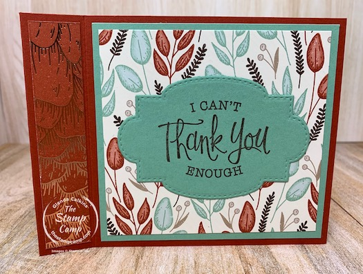 Have you ever tried the Book Binding Technique? This is a super easy technique and a great way to use up some Designer Series Papers you may have laying around. I wanted to use up my Gilded Autumn Specialty Paper and this card did the trick. #thestampcamp #stampinup #technique #designerpaper