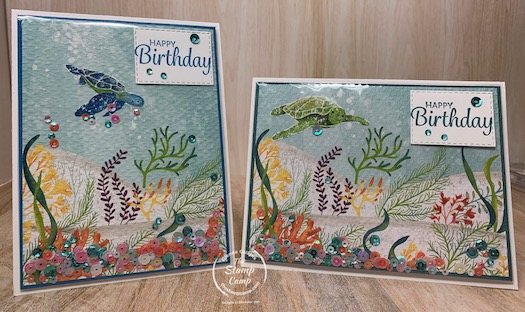 Want to know how to create the easiest shaker card ever? I'll show you on my blog today. These cards feature the Whale of a Time Designer Series Papers; so cool. #stampinup #thestampcamp #technique
