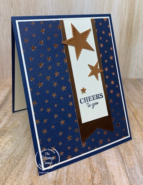 Cheers to You with the Brightly Gleaming Specialty Designer Series Paper; see it's not just for Christmas. The prints in this paper pack can be used for so many other occasion not just Christmas. This card was created for a few of my team members who have promoted. #stampinup #thestampcamp #brightlygleaming