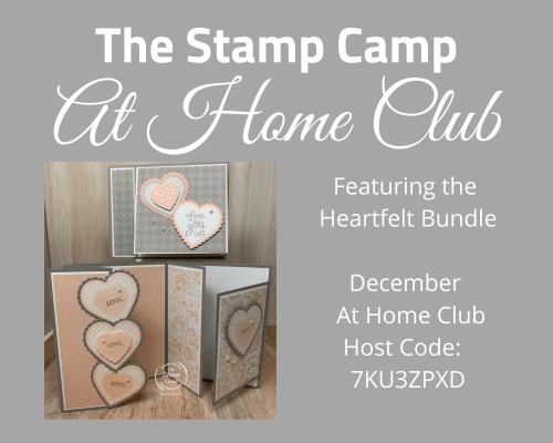 Would you like to be in a card club? Well I have the perfect club for you and it is delivered right to your front door. This months featured stamp set is the Heartfelt Bundle which you may already have on hand. Each month there is a new bundle for club and 3 new basic to advanced cards for you to create in your kit. #stampinup #thestampcamp #cardkit