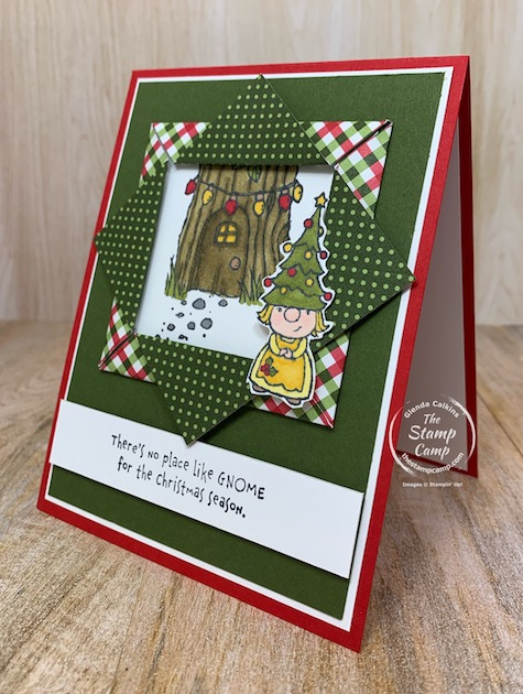 The Stampin' Up! Gnome for the Holiday's Stamp Set is perfect for this Fun Fold Friday Card. This is a Folded Paper Frame Technique. An oldie but a super sweet technique and card. #thestampcamp #stampinup #funfold