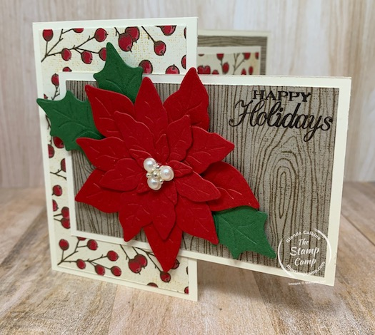 """It's Fun Fold Friday and today's card is a Front Flip Flop card. You will see why I say that when you see how this card opens up. This is a fun card that uses 1 sheet of 8 1/2"""" X 11"""" piece of card stock. The gorgeous prints on this card are from the Poinsettia Place Designer Series Paper and the coordinating Poinsettia Petals Bundle was used. #funfold #stampinup #thestampcamp"""