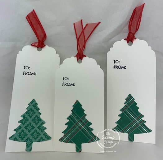 Do you have punches? Do you have Printed Papers? Do you have a Tag Topper Punch? Then you have all the makings for some quick and easy gift tags. Don't stress about making them pretty let the designer paper and the punches do that for you. #tags #christmastags #thestampcamp #stampinup