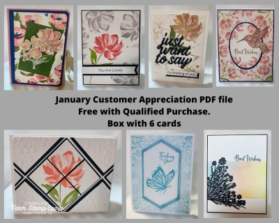 The theme for the January Customer Appreciation PDF file this month is Flower Inspiration. The Designer created a box with 6 gorgeous cards using products from the New Mini Catalog as well as Sale-a-bration. Enjoy! #thestampcamp #stampinup #cardbox