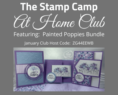 This month's Stamp Camp At Home Club features the Painted Poppies Bundle from Stampin' Up! Dust it off your shelf and lets get started! In this month's kit you will be creating 3 cards with a front latch. #stampinup #thestampcamp #clubkit #greetingcards