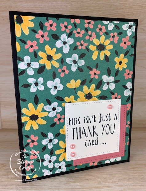 These are the final days to get the FREE Sale-a-bration Flower and Field Designer Series Paper.  This was done for a sketch challenge at Try Stampin' On Tuesday. #thestampcamp #stampinup #flowerandfield
