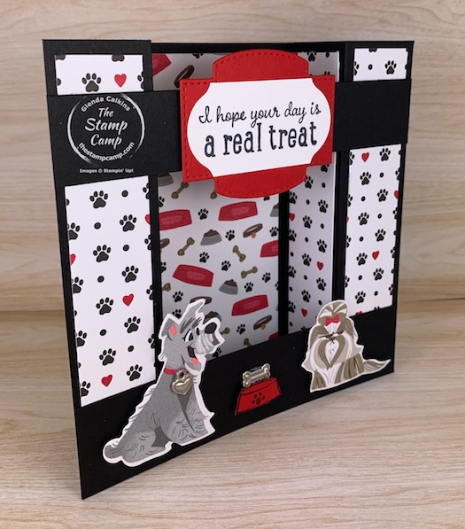 The Playful Pets Designer Series Paper is the cutest paper in the catalog I think. Plus, it has coordinating dies in the Pampered Pets Bundle. #thestampcamp #stampinup #funfold