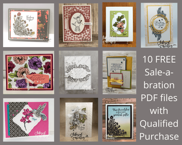 This is the LAST day of Sale-a-bration and the last day you can get these 10 Sale-a-bration Card PDF files for FREE with order. #thestampcamp #saleabration #stampinup