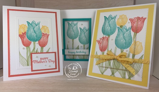 The featured stamp set for this month's Stamp Camp At Home Card Club is the Timeless Tulips and the Stitched Rectangles dies. I have created different techniques and a fun fold using the Timeless Tulips and Stitched Rectangle dies. #thestampcamp #stampinup #timelesstulips