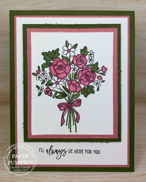 Bouquet of Hope is the stamp set in the Paper Pumpkin Kit for February. If you enjoy getting a craft project in the mail each and every month than you will love the Paper Pumpkin kits. #thestampcamp #stampinup #kits