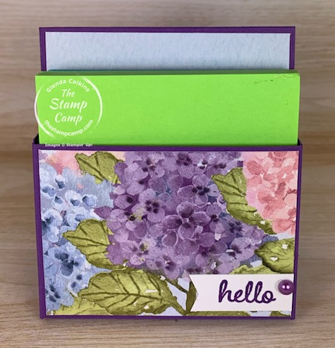 Need a sweet and simple gift to give someone? Try this beautiful Sticky Notepad Holder for a desk, mantel, counter etc. #thestampcamp #stampinup #notepadholder