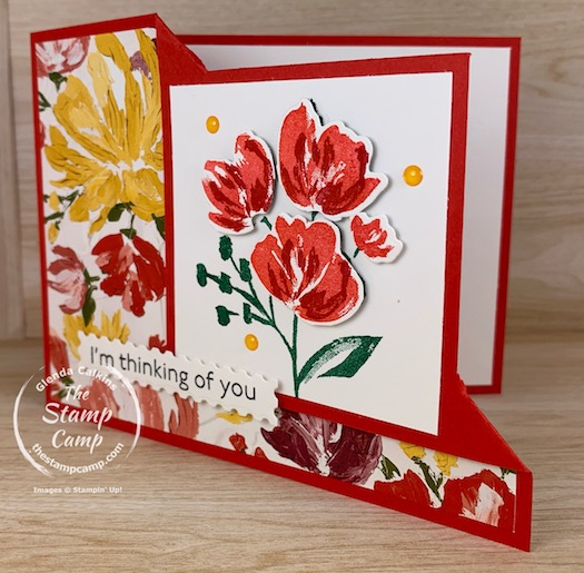 Have you tried last week Friday's Horizontal Corner Flip Fold yet? This is so fun and you can do it with a variety of stamp sets and Designer Papers. #thestampcamp #stampinup #cardfunfolds