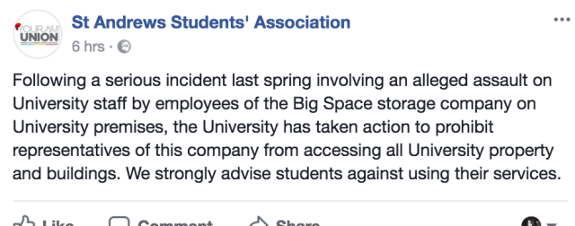Photo: St Andrews Students' Association