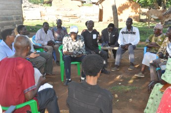 The team meets village leaders at Lukale. (Photos by Doreen Kajeru)