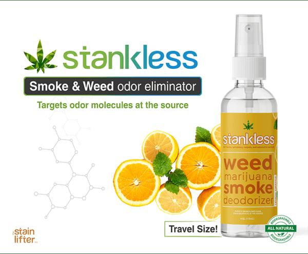 Stankless travel size bottle with background lemon orange scent