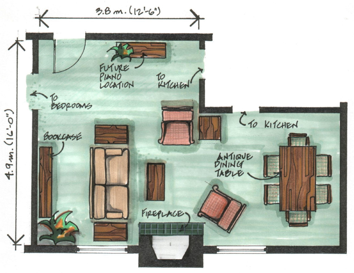 Layout L Shaped Living And Dining Room Novocom Top
