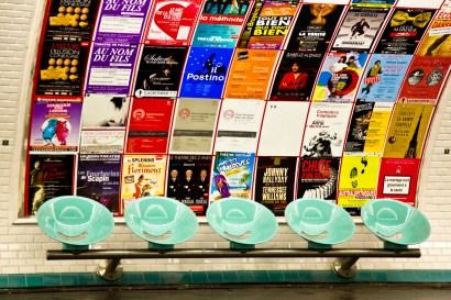 Paris Metro Station Seats and Poster Art