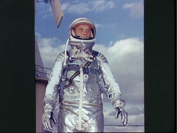 Astronaut John H. Glenn Jr. in his Mercury spacesuit